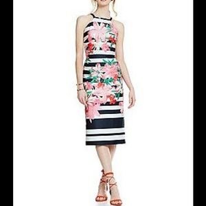 VINCE CAMUTO STRIPED/ FLORAL MIDI DRESS